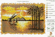 Cross Stitching, Cross Stitch Embroidery, Cross Stitch Patterns, Le Nil, Cross Stitch Sea, Cross Stitch Landscape, Scenery Pictures, Needlepoint Designs, Tapestry Crochet