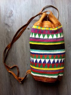 Vintage Leather & crochet type fabric SHOULDER BAG backpack Mens / Womens Bucket triangles $109