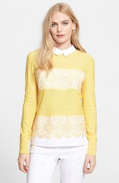 Tory Burch 'Edwina' Embroidered Panel Merino Wool Collared Sweater #yellow