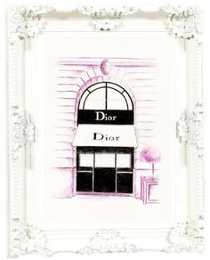 pink diororiginal fashion illustration painting print..fashion wall art pink wall art paris print chic french decor baby nursery art (12.00 USD) by ellaillustrations
