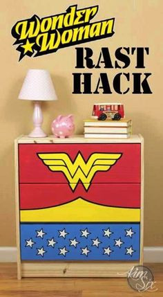 Wonder Woman Dresser: A Rast Hack.  I love this for a superhero's bedroom!