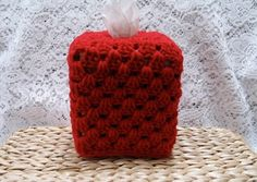 Red Crocheted Tissue Box Cover Cozy by TimeForCrochet on Etsy, $10.00