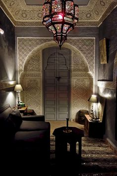 Moroccan decor in a beautiful Riad. Gebss sculpting, colored glass lighting and the famous tadelakt wall coating.Gorgeous Moroccan decor in a beautiful Riad. Gebss sculpting, colored glass lighting and the famous tadelakt wall coating. Morrocan Decor, Moroccan Theme, Moroccan Design, Moroccan Style, Moroccan Lighting, Moroccan Decor Living Room, Moroccan Lamp, Design Marocain, Style Marocain