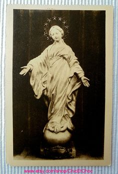French Vintage Unused Postcard - The Virgin of the Smile Statue by ChicEtChoc on Etsy