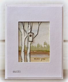 Rapport från ett skrivbord: Outside my window (Memory Box Birches dies, Penny Black Birdie Bungalows Birdhouse