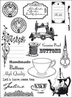 Shop ting til scrapbooking og hobbyartikler online her Vintage Packaging, Vintage Labels, Vintage Ephemera, Vintage Sewing, Marianne Design, Craft Shop, Tampons, Digital Stamps, Collage Sheet