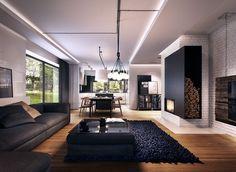 offenes Wohnzimmer in schwarz und weiß mit Holzboden