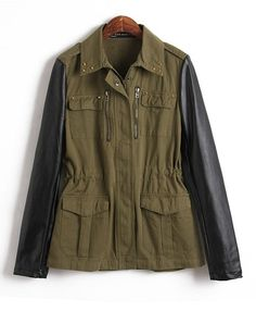 Military Coat with Leather Sleeves