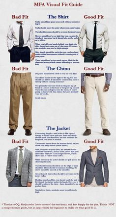Still confused? Here's a more detailed guide on how pants, shirts, and jackets should fit.