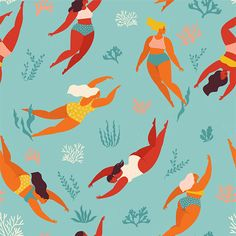 Cute decorative background with swimming women and girl in the sea or ocean. Vector seamless pattern. Underwater artwork design. Swim and dive in sea. Sea Illustration, Pattern Illustration, Polar Bear Paint, Mermaid Background, Bear Paintings, Cartoon Fish, Cute Mermaid, Free Vector Art, Artwork Design