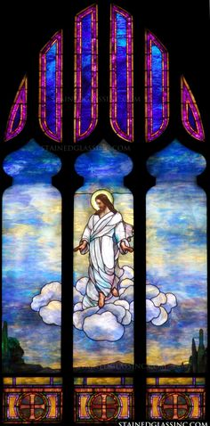 """""""The Ascension in the Clouds"""" Religious Stained Glass Window Stained Glass Church, Stained Glass Art, Stained Glass Windows, Church Windows, Petra, Clouds, Painting, Inspiration, Biblical Inspiration"""