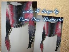 Crochet baktus scarf ~ video tutorial in Italian, edge is worked along with body