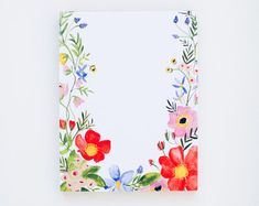 Floral Notepad - Watercolor Painted Flowers - Office Accessories - x Watercolor Cards, Watercolour Painting, Watercolor Flowers, Acrylic Flowers, Painted Flowers, Illustration Blume, Plant Drawing, Guache, Painting Inspiration