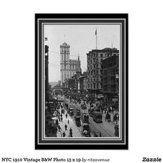 Nyc 1910 Vintage B W Photo 13 X 19 Poster 14 00 Black And White Posters