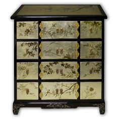 "31"" Chinese Black Lacquer Hall Cabinet with 8 Doors and 8 Drawers Hand Painted on Gold Leaf"