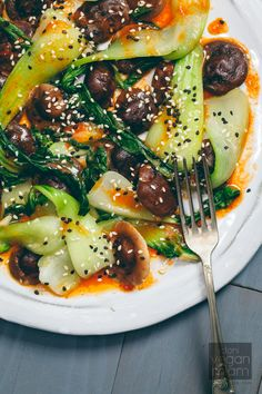 Bok Choy and Shiitake Mushrooms with Gochujang Vinaigrette