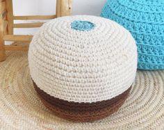 Big Floor Cushion Crochet Thick Cotton Ecru by lacasadecoto