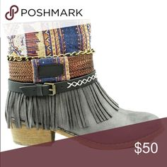 Stylish fringe bootie Colorful fringe bootie in color gray, new in box, will be available to ship out first week of October. shoe dynasty  Shoes Ankle Boots & Booties