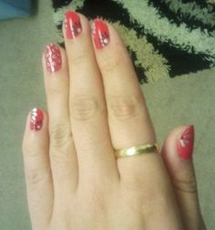 Red, black and white nail art