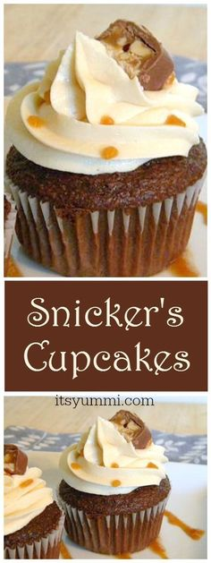 Snicker's Cupcakes {Easy Cupcake Recipes} via /itsyummi/