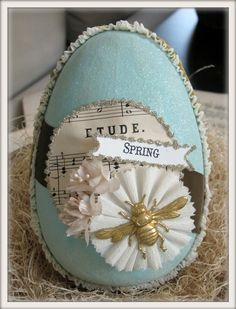 vintage inspired SPRING easter egg by crepeconfectionary on Etsy