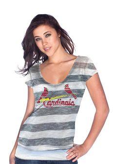 St. Louis (STL) Cardinals Women's White/Grey Striped Tunic by Majestic Threads $44.95 www.rallyhouse.com