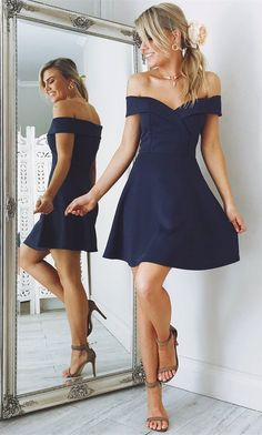 off the shoulder short navy blue homecoming dress, 2017 short navy blue homecoming dress, party dress dancing dress
