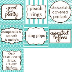Cocktail Menu, Candy Buffet Signs, Sparkler Holders, and Fan Programs ...