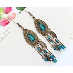 Purchase Indian Style Oval Tassel Leaf Beads Statement Earrings Women Ear Hook Jewelry from Aofa on OpenSky. Share and compare all Jewelry. Long Tassel Earrings, Cheap Earrings, Blue Earrings, Statement Earrings, Women's Earrings, Fashion Earrings, Fashion Jewelry, Women Jewelry, Style Fashion