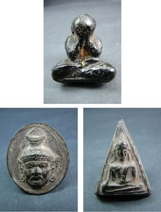 Currently at the #Catawiki auctions: A collection of 3 different Phra Buddhist amulets - Thailand - first half of ...