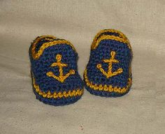 Ravelry: Baby Boy Sailor Booties, Navy shoes, Photo Prop pattern by Cathy Ren