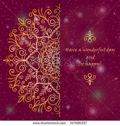 Template  greeting card design decorated with shiny pattern in oriental style. Golden Eastern mandala decor, frame for holiday design. Easily editable vector illustration - stock vector