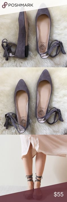 Vince Camuto Bevian Gray Suede Flats New In Box- gray flats by Vince Camuto with pointed toe, self tie ankle closure and padded insole. Leather upper, manmade lining and sole. Vince Camuto Shoes Flats & Loafers