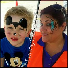 Mickey Mouse and glitter butterfly face painting Mickey Mouse Face Painting, Face Painting Halloween Kids, Halloween Face, Minnie Mouse Games, Butterfly Face Paint, Mickey Mouse Tattoos, Cheek Art, Face Painting Designs, Child Face