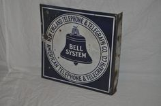 """Vintage 1930s New England Bell Telephone Double Sided Porcelain 16"""" Flange Sign"""