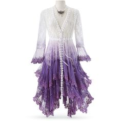 Purple Ombre Long Lace Jacket Size 1X Purple ($120) ❤ liked on Polyvore featuring outerwear, jackets, dresses, purple, plus size, layered jacket, ombre jacket, 3/4 sleeve jacket, lace jacket and women's plus size jackets