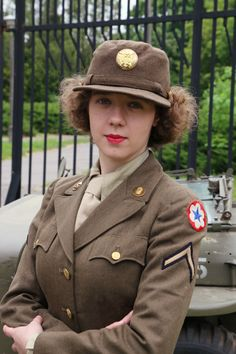 Women's Army Corps Korpus Armijny Kobiet USA Reenactment  PFC Wac who works in Army Service Forces as a supply clerk, on her furlough. United States, September 1944.