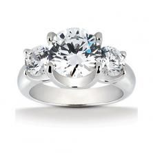 14k White Gold Three Stone Diamond Engagement Or Anniversary Ring (mounting Only, Does Not Include Any Diamonds)