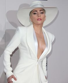 Lady Gaga wearing a white pantsuit by Brandon Maxwell at the 2016 American Music Awards held at the Microsoft Theater in Los Angeles on November 20, 2016