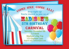 Circus Carnival Birthday Invitation Printable - Under the Big Top Collection. $15.00, via Etsy.