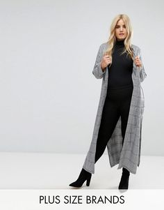 #ASOS - #Missguided Plus Missguided Plus Longline Check Duster Jacket - Gray - AdoreWe.com