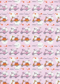 Pink Scooter Fabric! Monica Lee Now We're Goin' Places