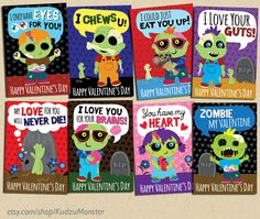 INSTANT DOWNLOAD Printable Classroom zombie valentines.  This pack of 8 print at home valentine's day cards by KudzuMonster are unique and funny , would be great for a boy or any zombie fan!