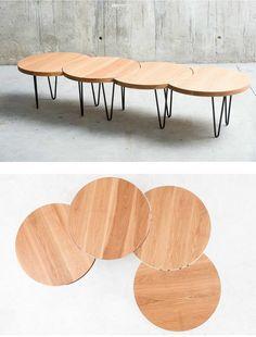 Adjustable #oak coffee #table for living room ORUGA by QoWood #wood