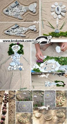 """SAND ART / Art de sable. I love the outline and then using natural materials to """"fill it in."""""""