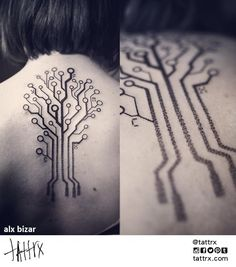 The cover - Tree in electronic pathways - But in green Geometric Tree 50 Seriously Impressive Dotwork Tattoos Body Art Tattoos, Tribal Tattoos, Tatoos, Tree Tattoos, Geometric Tattoos, Et Tattoo, Back Tattoo, Geometric Trees, Geometric Designs