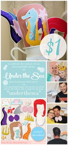 I am so excited about sharing photos with you from Bella's third birthday party at the end of June. But before I do I wanted to share these Under the Sea photo booth props we used. And for a limite. Little Mermaid Birthday, Little Mermaid Parties, 4th Birthday Parties, Third Birthday, Birthday Ideas, Mermaid Baby Showers, Minnie Mouse, Under The Sea Party, Hobbit