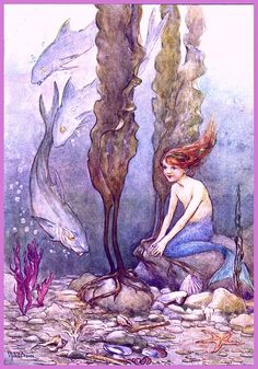 antique victorian mermaid illustration digital by FrenchFrouFrou