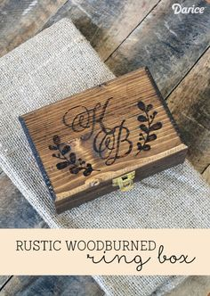 Rustic Wood-burned DIY Ring Box Wooden Box With Lid, Wooden Ring Box, Wooden Gift Boxes, Wedding Ring Box, Wedding Boxes, Wedding Signs, Wedding Ceremony, Diy Projects Cans, Wood Projects