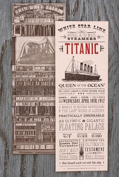 The anniversary of the sinking of the Titanic was yesterday and, in honor of the occasion, Starshaped Press has created this amazing broadside, the first in a series of self-promotional pieces that showcase the beauty of letterpress printing with. Titanic History, Rms Titanic, Titanic Prom, Ex Machina, Modern History, Letterpress Printing, Retro, Typography Design, Hand Lettering